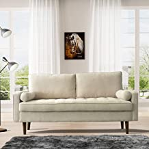Knowlife Mid-Century Futon Sofa Couch Modern Velvet&Linen Upholstered Sofa Couch, Beige Loveseat Couch