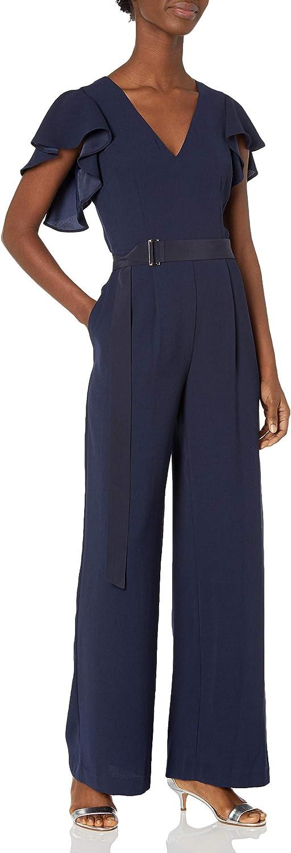 Eliza J Women's V-Neck Flutter Sleeve Jumpsuit