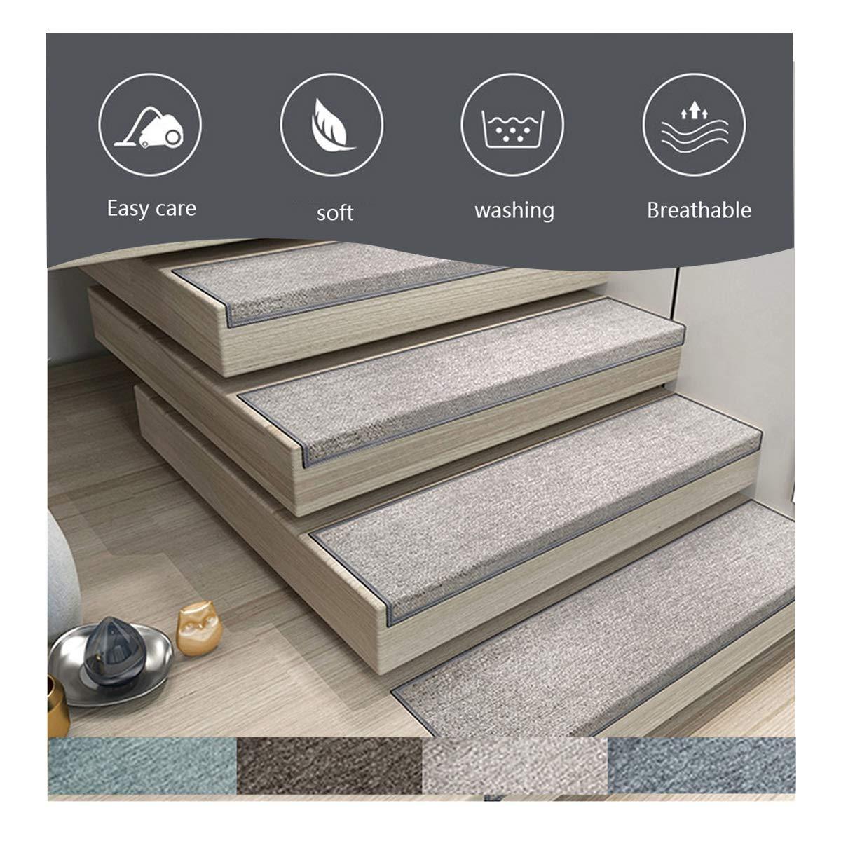 WOHOGAR Alfombras para escaleras, 15 Conjunto de Escalera de ratón Paso de alfombras Antideslizantes en Adhesivo Manta/Estera de Huella de peldaño, 75 * 26 * 3cm (Color : Light Grey): Amazon.es: Hogar