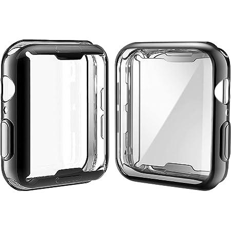 Misxi 【2枚セット】 対応Apple Watch Series 6 SE/Series 5 / Series 4 40mm ケース, 対応アップルウォッチシリーズ 6/SE/5/4 40mm TPU 保護カバー (1 ブラック + 1 クリア)