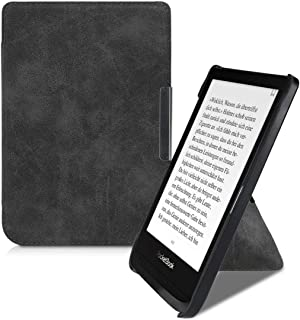 kwmobile Origami Case for Pocketbook Touch Lux 4/Basic Lux 2/Touch HD 3 - PU Leather/Faux Suede Cover with Magnet and Stand - Grey