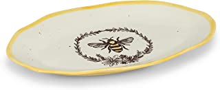 Abbott Collection 27-Crestwood Bee with Wreath Oval Platter, 8.5 x 13.5 inches L, Ivory