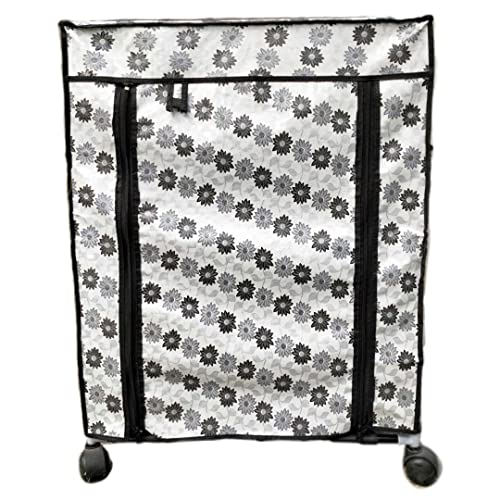 CreativeBuzz Multipourpos 4 Shelves Rack with Cover and Wheel, Totally Flodeble Plastic and Iron Rack, 66 cm X 83 cm X 16 cm, Multi Designer Cover