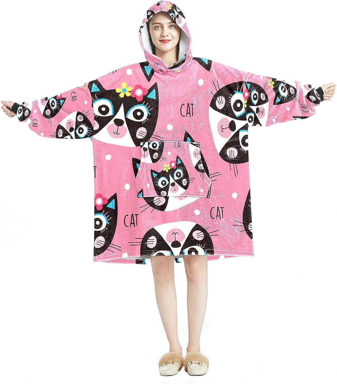 Oversized Hooded Blanket Sweatshirt Sale item Cute Pattern Floral Cat Soft Super Special SALE held