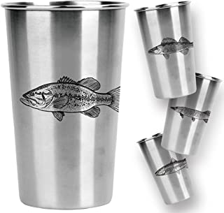 Magic Pine Stainless Pint Cups, Freshwater Fish (Set of 4)