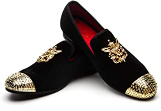 royal blue and gold loafers