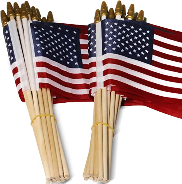 Anley LOT Of 50 USA 4x6 In Wooden Stick Flag July 4th Decoration Veteran Party Grave Marker Etc Handheld American Flag With Kid Safe Golden Spear Top Pack Of 50