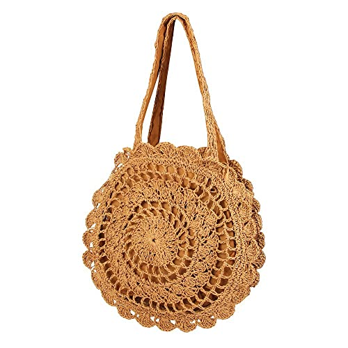 2fa7365325 Olyphy Round Straw Shoulder Bag for Women
