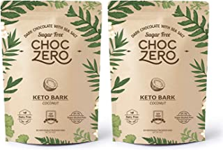 ChocZero's Keto Bark, Dark Chocolate Coconuts with Sea Salt. Sugar Free, Low Carb. No Sugar Alcohols, No Artificial Sweeteners, All Natural, Non-GMO (2 bags, 6 servings/each)