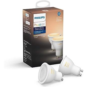Philips Hue GU10 - Bombilla inteligente, Bluetooth & Zigbee compatible (Hue Hub Optional), voice activated with Alexa, luz blanca, 2-Pack LED – un dispositivo certificado para humanos