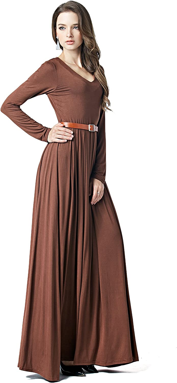 Charm Your Prince CYP Women's VNeck Long Sleeve Elegant Formal Cocktail Evening Belted Maxi Dress
