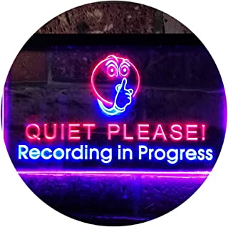 nc0440-r Recording in Progress Quiet Please On Air Neon Sign LED Clock