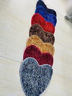 MANN Super Soft Glossy Silky Non-Slip Dual Heart Shape Carpet Runner, Door Mats for Bedroom, Living Room, Floor and Home D...