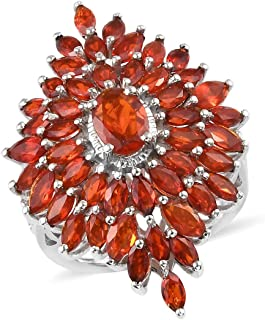 925 Sterling Silver Platinum Plated Oval Fire Opal Crimson Cluster Ring Jewelry for Women Ct 2.7
