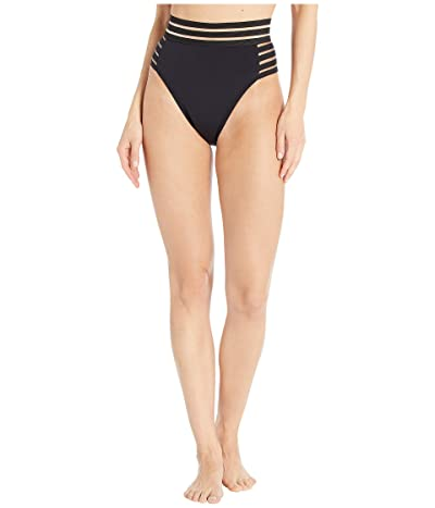 Vince Camuto Coastlines Mesh Elastic High-Waist High Leg Bikini Bottoms (Black) Women