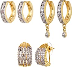 Youbella Combo Of American Diamond Earrings For Women Girls