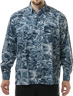 Aqua Design Fishing Shirts Men: UPF 50+ Camo Long Sleeve Zip Pockets Mens Shirt