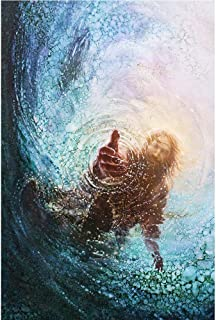 Faicai Art The Hand of God Painting-Jesus Reaching Into Water Large Canvas Wall Art Prints Modern Abstract Wall Decor Pictures for Living Room Office Bedroom Home Office Wooden Framed 32