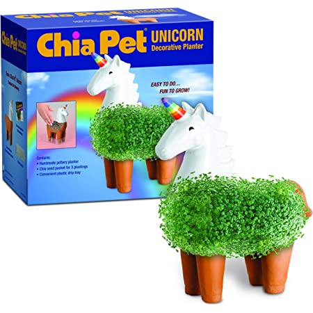 Chia CP437-01 Pet Unicorn Decorative Pottery Planter, Easy to Do and Fun to Grow