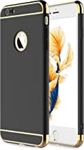 iPhone 6s Plus Case, iPhone 6 Plus Case,RORSOU 3 in 1 Ultra Thin and Slim Hard Case Coated Non Slip Matte Surface with Electroplate Frame for Apple iPhone 6/6s Plus (5.5') - Black and Gold