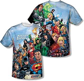 The League - Justice League All-Over Front/Back Print Sports Fabric T-Shirt White