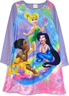 Disney Fairies Girls Blue Velour Tinkerbell Nightgown Christmas Holiday Gown