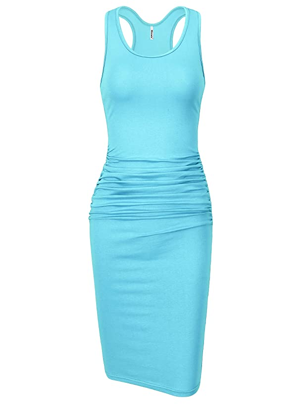 Missufe Women's Sleeveless Racerback Tank Ruched Bodycon Sundress Midi Fitted Casual Dress