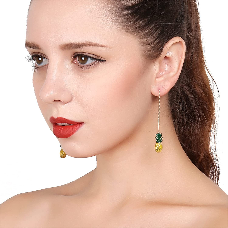 coadipress 3D Pineapple Strawberry Chain Thread Earrings for Women Teens Girl Long Creative Elegant Sweet Cute Fruit Dangle Drop Jewelry