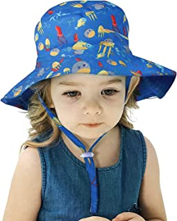 Cute Bucket Hat with Strings - Summer Travel Beach Sun Hat UV Protection, Outdoor Cap for Little Girls Boys