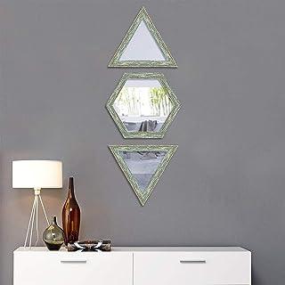 Art Street Decorative Wall Mirror Set of 3 Hexagon Triangular Shape for Home Decoration & Wall Decoration- Size-10x10 Inch...