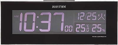 目覚まし時計 電波時計 グラデーションLED表示 イロリア 黒 リズム時計 8RZ173SR02