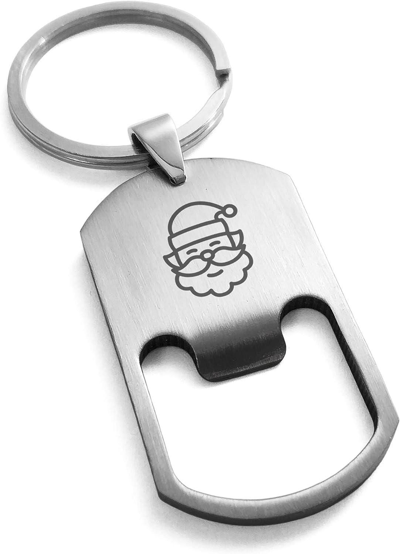 Tioneer Stainless Steel Minimalist Jolly Santa Claus Bottle Opener Dog Tag Keychain Keyring