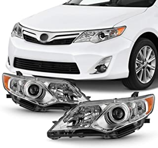 Projector [Halogen Type] Fits 2012 2013 2014 Toyota Camry Chrome Headlights Driver Left+Passenger Right Pair