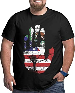 XPEACH Men's Plus-Size T-Shirt Mexico American Flag Palm Print Big and Tall Short-Sleeve Large Size Tee