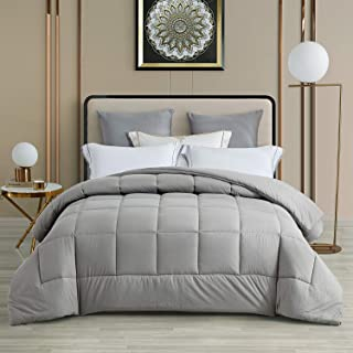 CHIXIN King Dark Grey Comforter - Soft Down Alternative Comforter - 330 GSM Reversible Bedding Comforter - 3D Hollow Siliconized