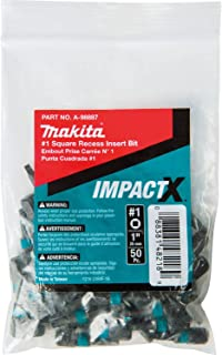 Makita A-98887 Impactx 1 Square Recess 1″ Insert Bit, 50 Pack, Bulk