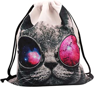 Drawstring Backpack Cool Cat 3D Printed Rope Bag Gym Bags Tote Cinch Sack