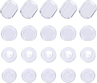 Maxdot 100 Pieces 4 Size Earring Pads Silicone Comfort Earring Cushions for Clips on Earrings, Clear