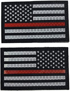 Reflective Thin Red Line US USA American Flag Firefighter First Responders Patches for Search and Rescue with Hook and Loop Fastener Patch (Forward+Reversed)