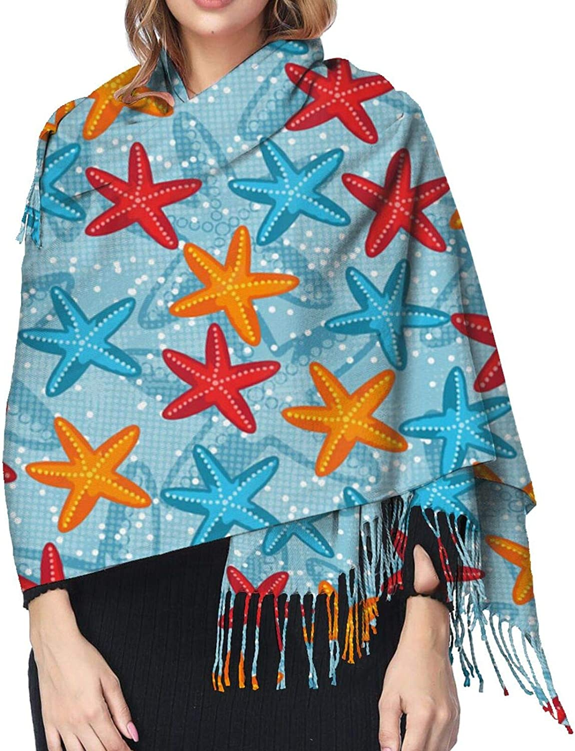 Beautiful Starfish Cashmere Scarf Fashion Long Shawl with Fringed Edges Super Soft Warm Cozy Light Blanket Scarves Wrap Ultra Warm Winter Accessories Gifts For Men And Women
