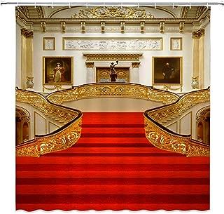 jingjiji Nautical Decor Shower Curtain Retro Building Titanic European Style Art Film Classic Scene Fun Bathroom Decoration Curtains Polyester Fabric Waterproof with Hook 70 X 70 Inch Gold Red