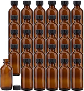 Bekith 30 Pack 2 oz Boston Round Glass Bottle with Black Caps, Amber