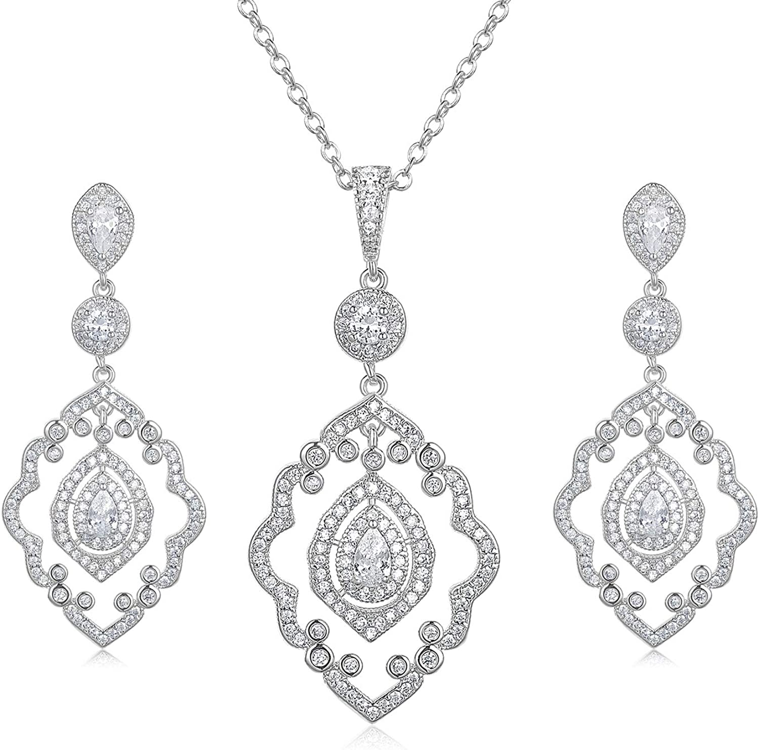 SWEETV Wedding Jewelry Sets for Brides, Crystal Bridal Necklace and Earrings Jewelry Sets for Women Party Prom Gift
