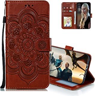 MEIKONST Case for Honor Play 4T Pro, Brown Mandala Embossing Luxury PU Leather Flip Wallet Bookstyle with Stand Card Holde...