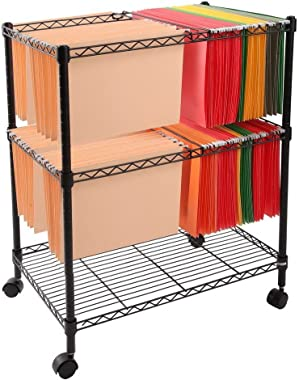 """Knocbel Metal Rolling File Cart Mobile Cabinet with Lockable Wheels (Black23.6"""" Lx15.7"""" Wx27.6"""" H)"""