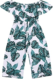 Baby Girls Off Shoulder Romper, Toddler Leaf Jumpsuit Bodysuit Summer Pants Clothes Outfits
