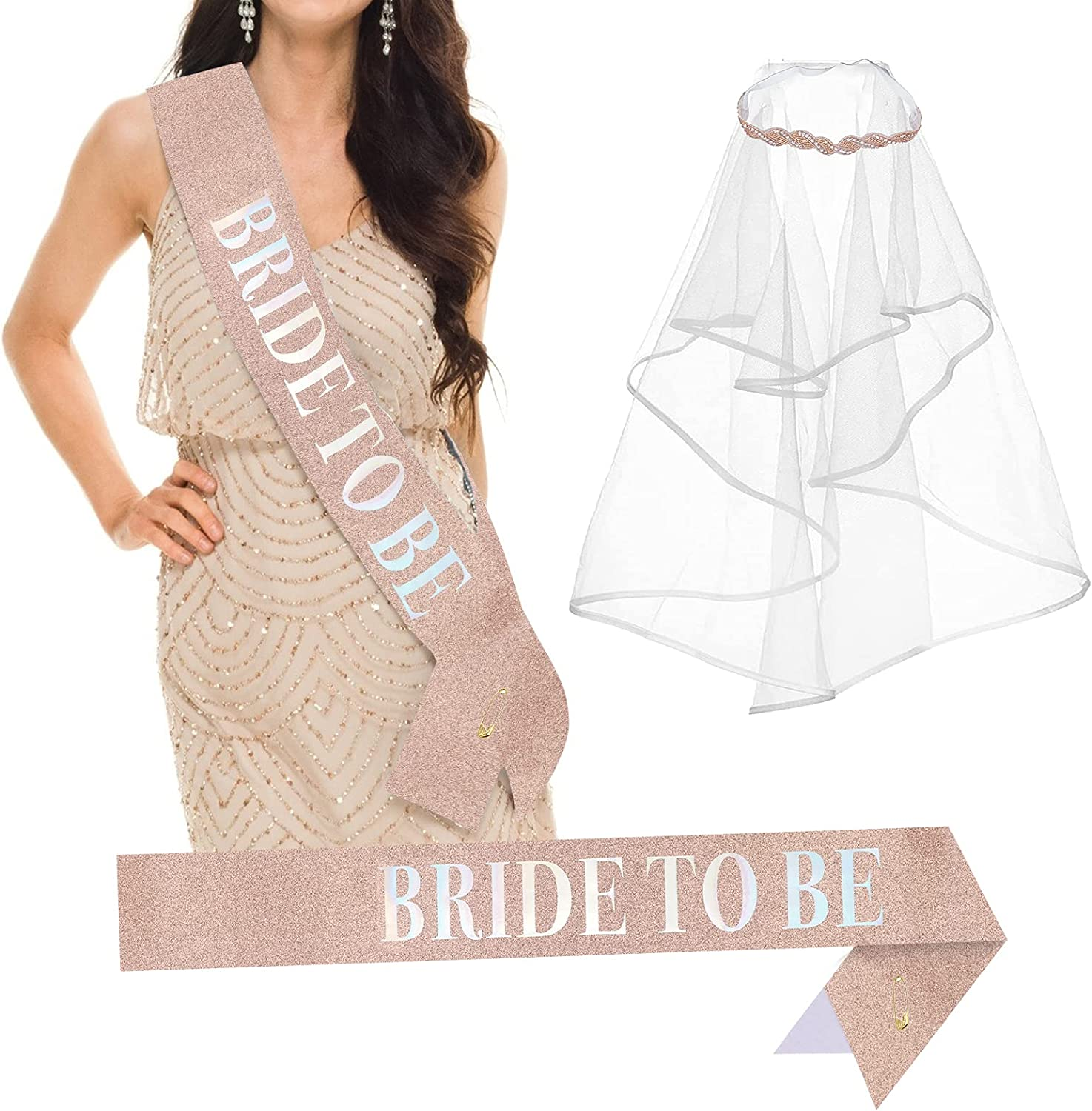 Bride to Be Sash and Long Bride Veil Bachelorette Party Decorations Headband for Bridal Shower Party Rose Gold Sash and White Words Engagement Decoration