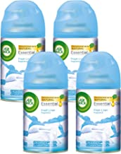 Air Wick Freshmatic 4 Refills Automatic Spray, Fresh Linen, 4ct, New Look, Same familiar smell of Fresh Laundry, Essential Oil, Odor Neutralization, Packaging May Vary
