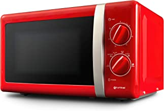 Grunkel - MW-20RF - Microondas de diseño Vintage de 20 litros de Capacidad y 6 Niveles de Potencia. Función descongelación y Temporizador hasta 30 Minutos - 700W - Rojo