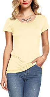 e8c91a8bf1b Amoretu Womens Scoop Neck Short Sleeve Tee Tops Cotton T-Shirts for Summer